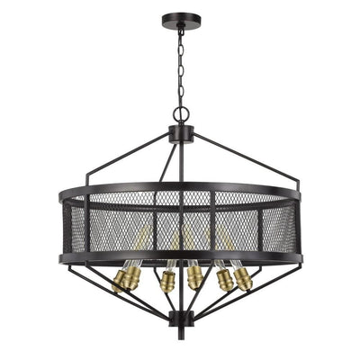 6 Bulb Chandelier with Metal Drum Mesh Shade, Black By Casagear Home