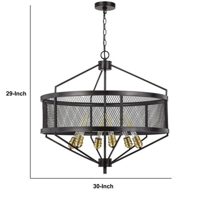 6 Bulb Chandelier with Metal Drum Mesh Shade Black By Casagear Home BM233292