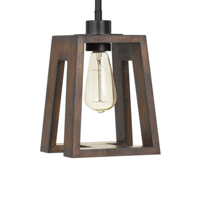 60 Watt Pendant Fixture with H Shaped Wooden Shade Brown By Casagear Home BM233298