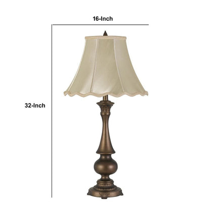 Turned Pedestal Stand Metal Table Lamp with Scalloped Shade Antique Brass By Casagear Home BM233314