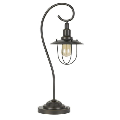 Metal Downbridge Design Table Lamp with Cage Shade, Dark Bronze By Casagear Home