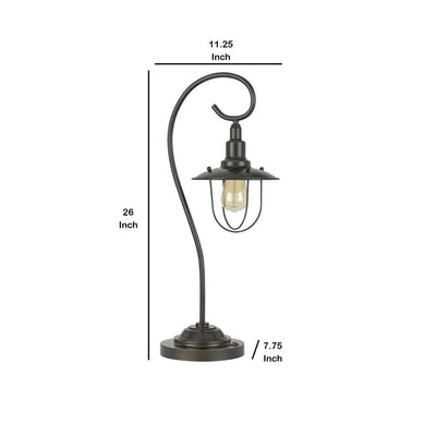 Metal Downbridge Design Table Lamp with Cage Shade Dark Bronze By Casagear Home BM233319