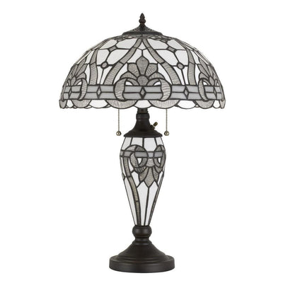 Glass Table Lamp with Umbrella Shade and Pull Chain Switch, Gray By Casagear Home