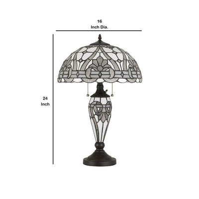 Glass Table Lamp with Umbrella Shade and Pull Chain Switch Gray By Casagear Home BM233321