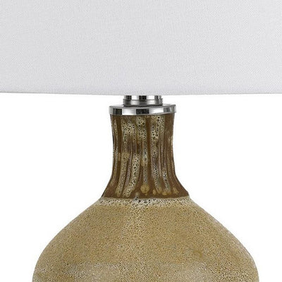 150 Watt Turned Ceramic Table Lamp with Tapered Shade White and Beige By Casagear Home BM233328