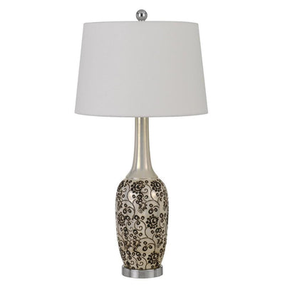 150 Watt Leaf Engraved Ceramic Base Table Lamp, Silver and Black By Casagear Home