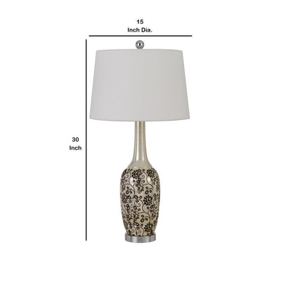 150 Watt Leaf Engraved Ceramic Base Table Lamp Silver and Black By Casagear Home BM233334