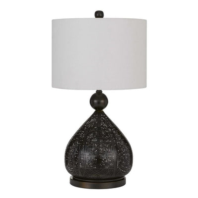 150 Watt Pierced Metal Frame Table Lamp, White and Bronze By Casagear Home