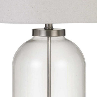 150 Watt Metal and Glass Base Table Lamp Silver and Clear By Casagear Home BM233342