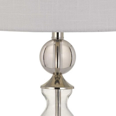 150 Watt Glass and Metal Base Table Lamp Off White and Clear By Casagear Home BM233349