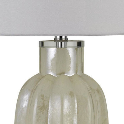 Glass Table Lamp with Round Hardback Fabric Shade White By Casagear Home BM233350