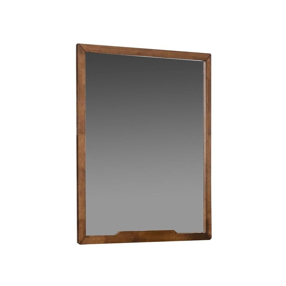Sleek Wooden Frame Wall Mirror with Mounting Hardware, Walnut Brown By Casagear Home
