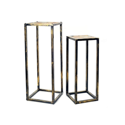 Stone Top Plant Stand with Tubular Legs, Set of 2, Black and Gray By Casagear Home