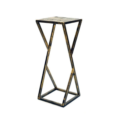 Stone Top Plant Stand with Geometric Base, Black and Gray By Casagear Home