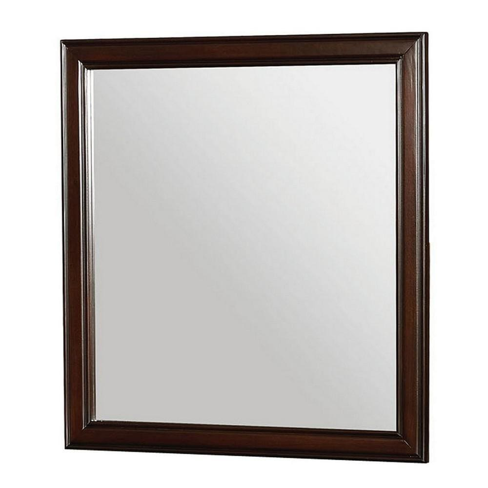 35 Inch Transitional Style Wooden Frame Mirror, Cherry By Casagear Home