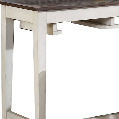 Wooden 3 Piece Bar Table Set with Enclosed Storage Rack Brown and White - BM235506 By Casagear Home BM235506