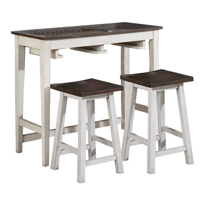 Wooden 3 Piece Bar Table Set with Enclosed Storage Rack, Brown and White - BM235506 By Casagear Home