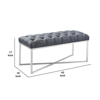 17 Inch Tufted Fabric Padded Bench with Metal Base Gray - BM236858 By Casagear Home BM236858