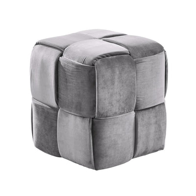18 Inch Velvet Upholstered Short Ottoman with Wood Legs, Gray - BM236862 By Casagear Home