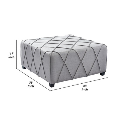 17 Inch Fabric Ottoman with Piping Details Light Gray - BM236868 By Casagear Home BM236868
