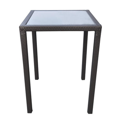 32 Inches Glass Top Wicker Woven Aluminum Bar Table, Black - BM236881 By Casagear Home