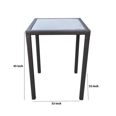 32 Inches Glass Top Wicker Woven Aluminum Bar Table Black - BM236881 By Casagear Home BM236881