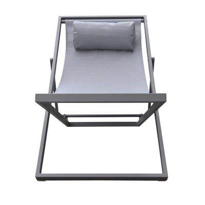 Textilene Upholstered Deck Chair with Padded Headrest Gray - BM236884 By Casagear Home BM236884