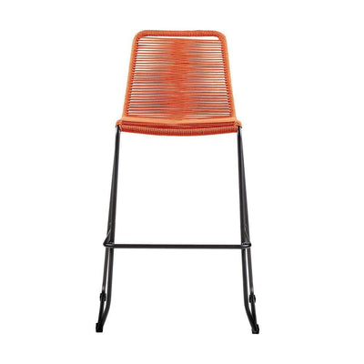 Metal Frame Patio Barstool with Fishbone Rope Weaving Orange - BM236925 By Casagear Home BM236925