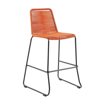 Metal Frame Patio Barstool with Fishbone Rope Weaving, Orange - BM236925 By Casagear Home