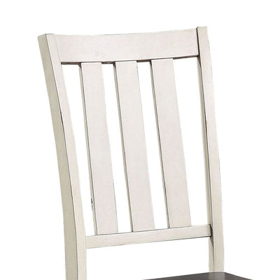 Flared Slatted Back Side Chair with Block Legs Set of 2 White - BM237132 By Casagear Home BM237132