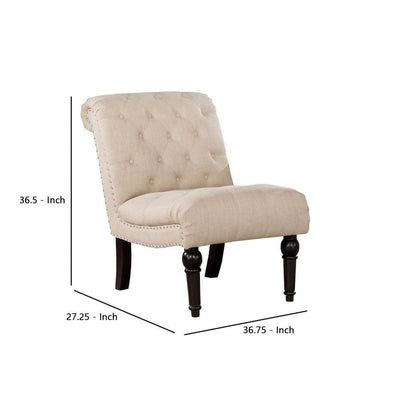 Fabric Rolled Design Armless Chair with Button Tufting Beige - BM237144 By Casagear Home BM237144