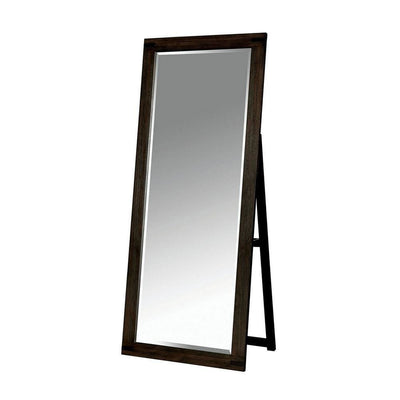 Rectangular Wooden Frame Standing Mirror with Folding Support, Brown - BM237152 By Casagear Home