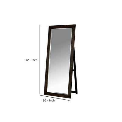 Rectangular Wooden Frame Standing Mirror with Folding Support Brown - BM237152 By Casagear Home BM237152