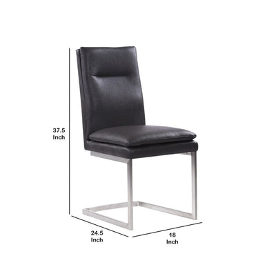 Faux Leather Dining Chair with Metal Sled Base Set of 2 Gray - BM237185 By Casagear Home BM237185