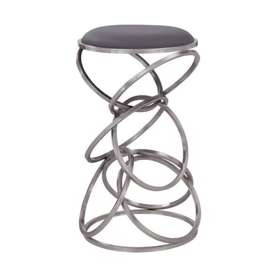 Intersected Circular Metal Base Counter Height Barstool, Silver - BM237220 By Casagear Home