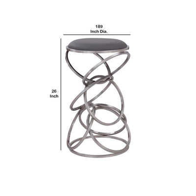 Intersected Circular Metal Base Counter Height Barstool Silver - BM237220 By Casagear Home BM237220