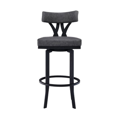 Leatherette Curved Top Panel Back Barstool Gray - BM237226 By Casagear Home BM237226