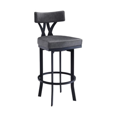 Leatherette Curved Top Panel Back Barstool, Gray - BM237226 By Casagear Home