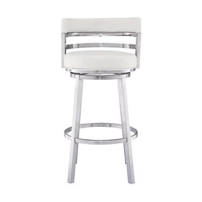 Leatherette Curved Back Counter Barstool with Swivel Mechanism White - BM237238 By Casagear Home BM237238