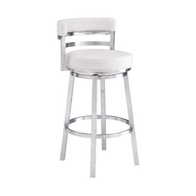 Leatherette Curved Back Counter Barstool with Swivel Mechanism, White - BM237238 By Casagear Home