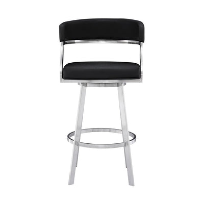 Leatherette Flared Curved Back Barstool Black - BM237243 By Casagear Home BM237243