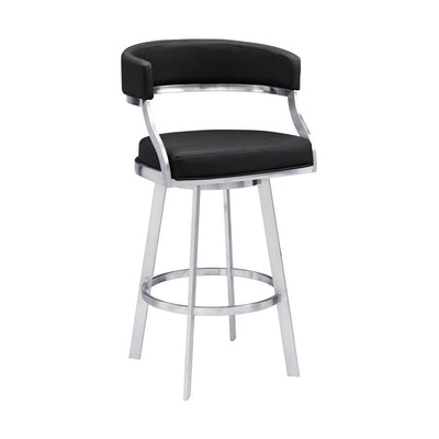 Leatherette Flared Curved Back Barstool, Black - BM237243 By Casagear Home