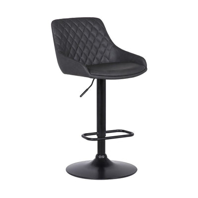 Metal and Leatherette Bar Stool with Adjustable Height, Black - BM237248 By Casagear Home