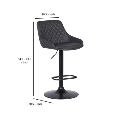 Metal and Leatherette Bar Stool with Adjustable Height Black - BM237248 By Casagear Home BM237248