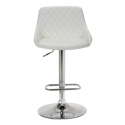Metal Adjustable Height Bar Stool White and Silver - BM237249 By Casagear Home BM237249
