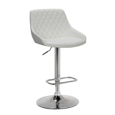 Metal Adjustable Height Bar Stool, White and Silver - BM237249 By Casagear Home