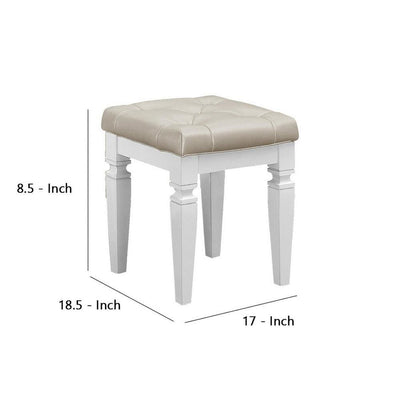 Leatherette Tufted Vanity Stool with Tapered Leg Support Beige and White - BM237353 By Casagear Home BM237353