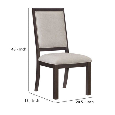 Wooden Side Chair with Fabric Padded Seating Set of 2,Gray and Brown - BM237357 By Casagear Home BM237357
