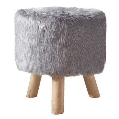 Faux Fur Seated Round Stool with Angled Wood Legs, Gray and Brown - BM237361 By Casagear Home