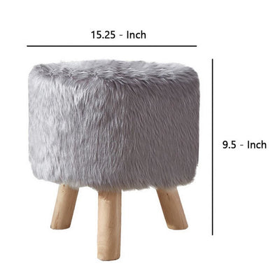 Faux Fur Seated Round Stool with Angled Wood Legs Gray and Brown - BM237361 By Casagear Home BM237361